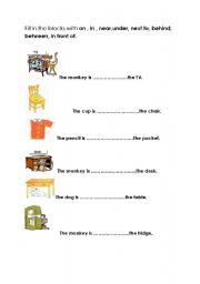 Preposition Worksheet Grade 1 as well English Prepositions Worksheet ...