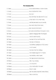 Printables Ice Breaker Worksheets english teaching worksheets ice breakers breaker find someone who