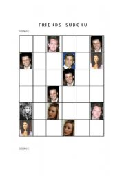 English Worksheets: Sudoku with F*R*I*E*N*D*S characters! - PART 1