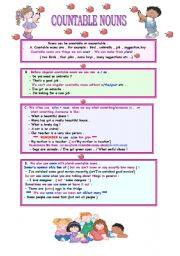 English Worksheets: COUNTABLE NOUNS (2 PAGES)