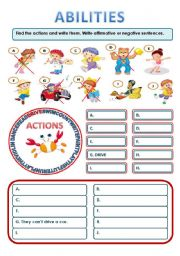 English Worksheet: EXPRESSING ABILITIES
