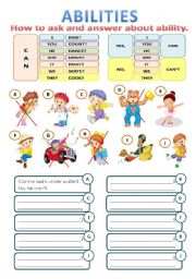 English Worksheet: ABILITIES