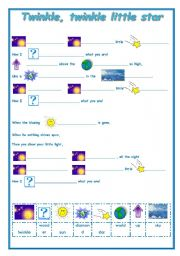 English Worksheet: TWINKLE, TWINKLE LITTLE STAR