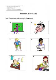 English worksheet: past activities to match