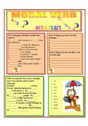 English Worksheet: MODAL VERBS HAVE TO AND WON�T BE ABLE TO