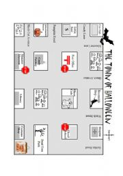 English Worksheet: Town of Halloween Map for Directions lesson