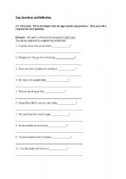 English Worksheets: Tag Questions and Inflection