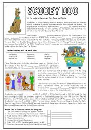 English Worksheets: Scooby Doo - Past tenses, Cloze and True or False