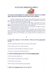 English Worksheet: Problem with sweets?