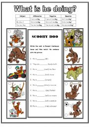 Scooby Doo  (2 pages) - Present continuous, match, cloze and description