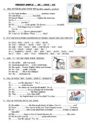 English Worksheet: PRESENT SIMPLE : be - have - do (positive, negative, question)