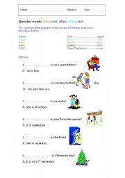 English Worksheets: Question words: who, what, when, where, how