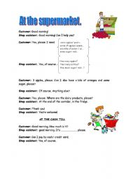 English Worksheet: Role play: At the supermarket