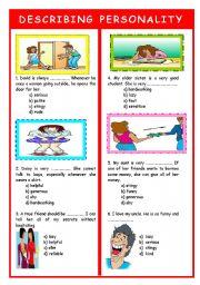 English Worksheet: DESCRIBING PERSONALITY TEST