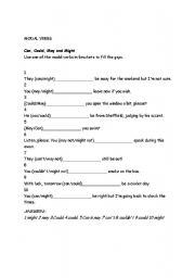 English Worksheet: Modal Verbs - can / could / may / might