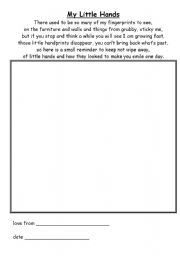 English Worksheets: My little hands