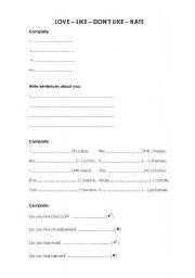 English Worksheets: love-like-don�t like-hate