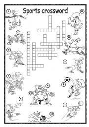 English Worksheet Sports Crossword 1
