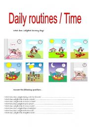 English Worksheets: Daily routines / Time.