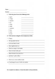 English Worksheets: writing sentences for elementary