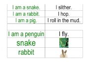 English Worksheets: Animal word cards matching activity 3