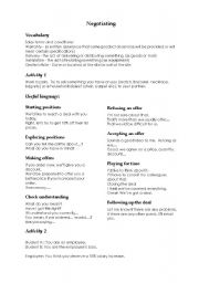 Worksheet Negotiation Worksheet english teaching worksheets negotiation negotiation