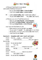 English Worksheet: A lot / Much / Many