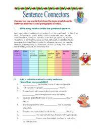 English Worksheets: Sentence Connectors