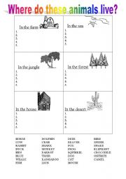 English Worksheets: where do these animals live?