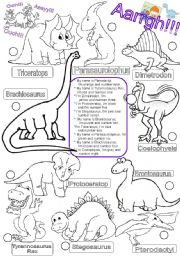 English Worksheets: DINOSAURS.colors and numbers one to ten