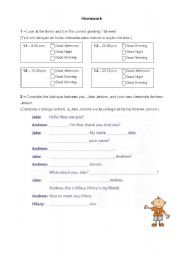 English Worksheets: Introducing and Greeting