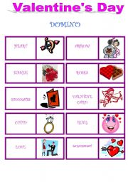 English Worksheet: VALENTINE´s DAY - 2 pages - DOMINO & CROSSWORD !!