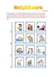 English Worksheets: Speaking_Asking Questions about Neighbours_Student A handout