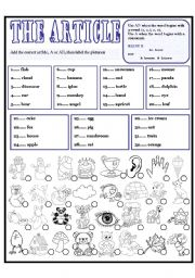 English Worksheets: THE ARTICLE