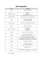 English Worksheet: Autobiography Powerpoint Instructions
