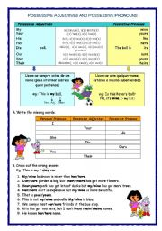 English Worksheet: Possessive adjectives and possessive pronouns