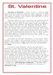 Außergewöhnlich English Worksheet: I Was St. Valentine
