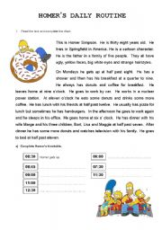 English Worksheets: Homer�s Daily Routine