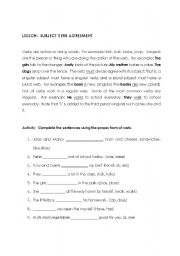 English Worksheet: Subject and Verb Agreement
