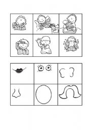 English Worksheet: everyday actions and faceparts bingo cards