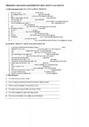 English Worksheet: PERMISSION, OBLIGATION and PROHIBITION