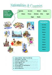English Worksheet: Nationalities and Countries