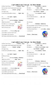 English Worksheets: I just called to say I love you