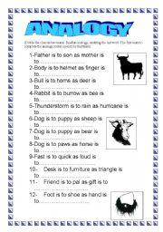 English Worksheets: Analogy