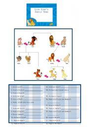 English Worksheet: Lion King�s Family Tree
