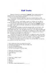 English Worksheets: Half Truth