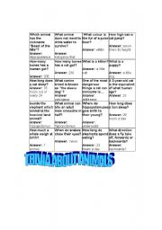 English Worksheets: trivia about animals