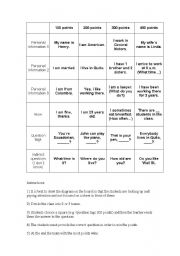 English Worksheet: Jeopardy- Basic questions