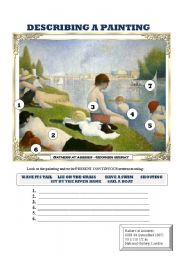 English Worksheet: DESCRIBING A PAINTING 3 (SEURAT) 2 PAGES