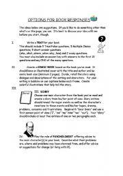 English Worksheets: Book Response Options